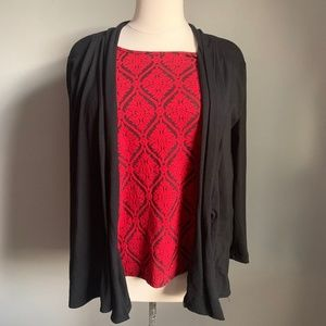 Red and Black Double Blouse
